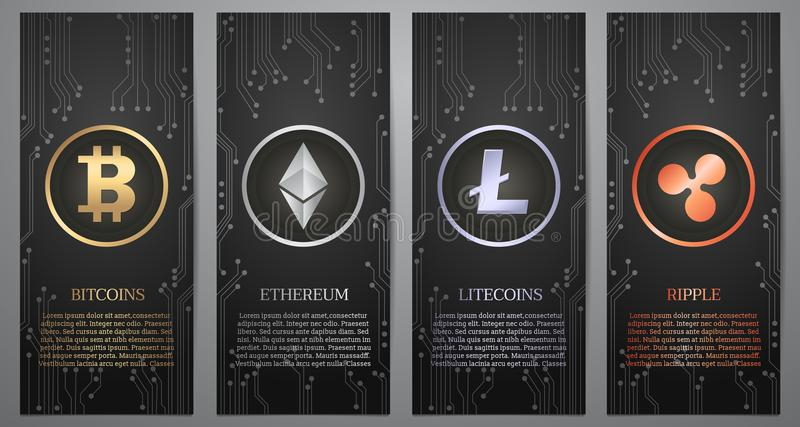 Cryptocurrency, bandera negra stock de ilustración