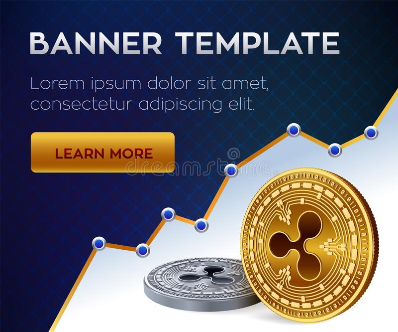Cryptocurrency banner template. Bitcoin. Ripple. 3D isometric Physical bit coins. Golden bitcoin and siver Ripple coins. Stock illustration vector illustration
