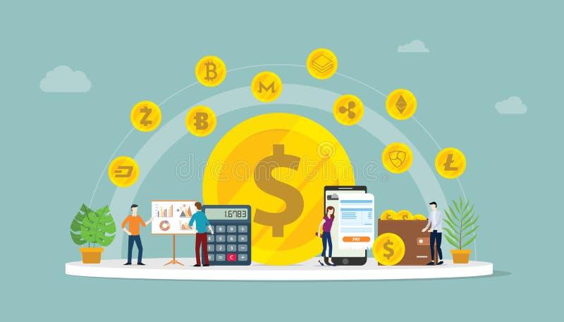 Cryptocurrency bedrijfsgeldoptie met divers soort digitale geldtechnologie die blokketen technologie met teammensen gebruiken royalty-vrije illustratie
