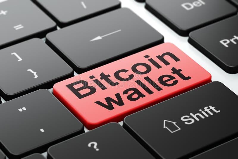 Cryptocurrency begrepp: Bitcoin plånbok på bakgrund för datortangentbord fotografering för bildbyråer