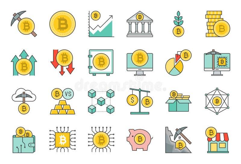 Cryptocurrency begrepp fylld symbolsuppsättning stock illustrationer