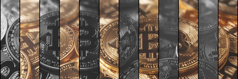 Cryptocurrency begreppsfinans och teknologibegrepp Bitcoin, royaltyfri illustrationer