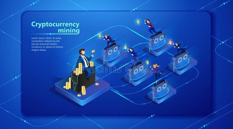Cryptocurrency-Bergbau Auch im corel abgehobenen Betrag stock abbildung
