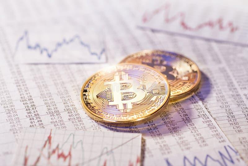 cryptocurrency Bitcoin的不稳定的路线 免版税库存照片