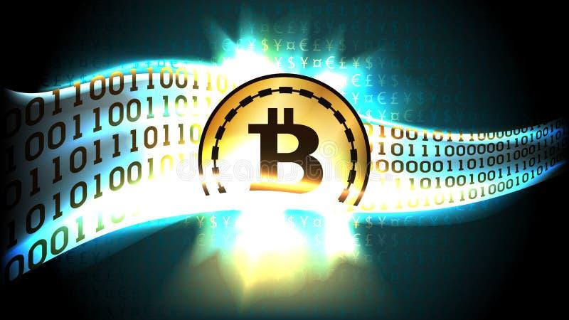 cryptocurrency bitcoin的金黄标志为二进制编码交换货币符 库存例证