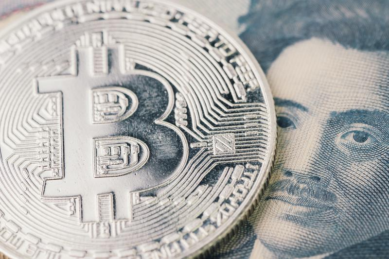 Cryptocurrency Bitcoin рынка с понижательной тенденцией, цифровые деньги в conce Японии стоковые фото