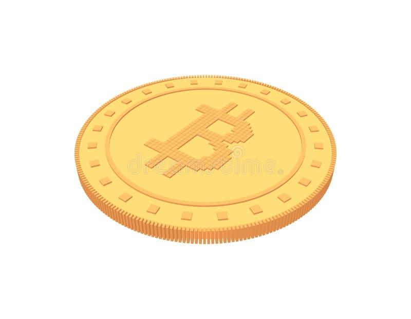 Cryptocurrency Bitcoin 背景查出的白色 3d向量 库存例证
