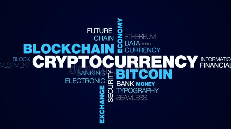 Cryptocurrency bitcoin blockchain gospodarki technologii biznesowy handel elektroniczny minuje cyfrowej wymiany finanse animował  ilustracji