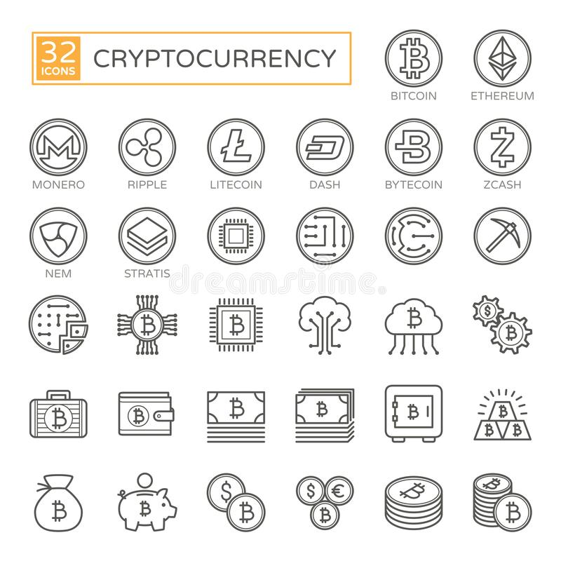Cryptocurrency, bitcoin, blockchain - minimalny cienieje kreskową sieci ikonę ustalony 32pc, prostego konturu wektorowe ikony ink ilustracja wektor