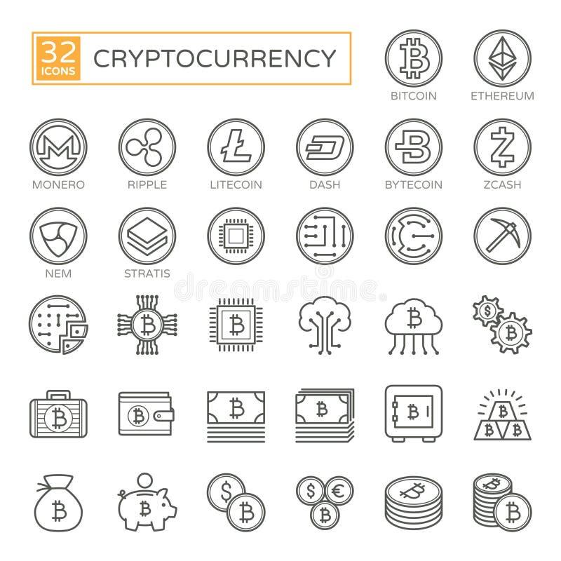 Cryptocurrency bitcoin, blockchain - minsta tunn linje rengöringsduksymbolsuppsättning 32pc, enkel samling för översiktsvektorsym vektor illustrationer