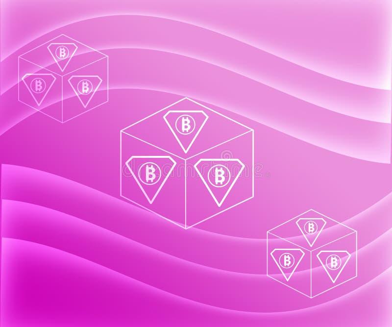 Cryptocurrency Bitcoin blockerar på rosa lutningbakgrund vektor illustrationer