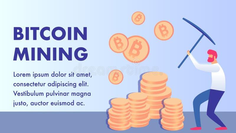 Cryptocurrency, Bitcoin-de Vlakke Lay-out van de Mijnbouwbanner royalty-vrije illustratie