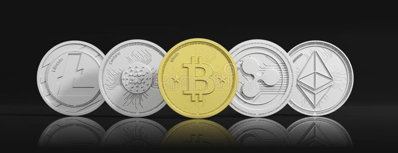 Cryptocurrency Bitcoin et variété d'or de pièces de monnaie virtuelles argentées sur le fond noir, bannière, vue de face illustra illustration stock