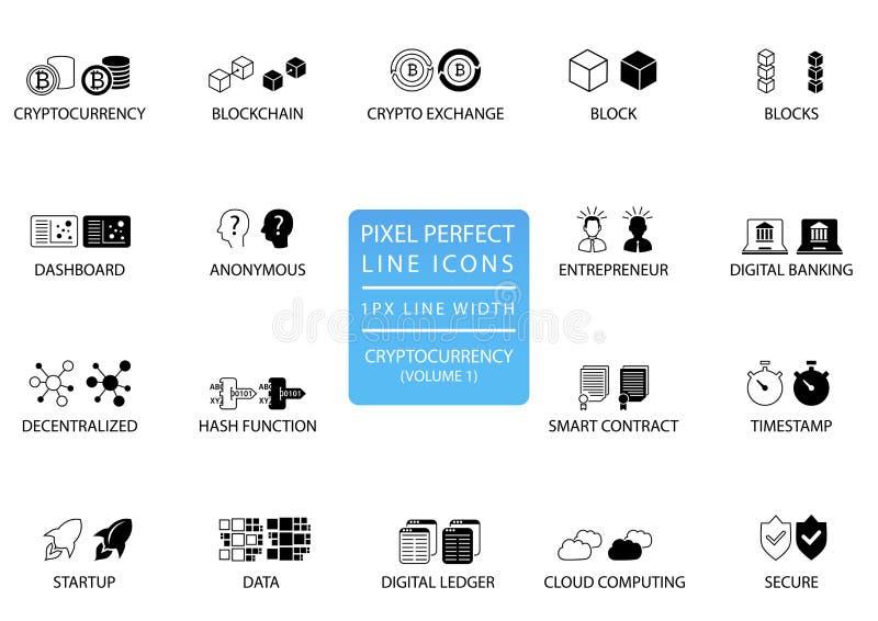 Cryptocurrency-bitcoin, ethereum dünne Linie Ikonensatz Perfekte Ikonen des Pixels mit 1 px Linienbreite für optimale APP und Net stock abbildung