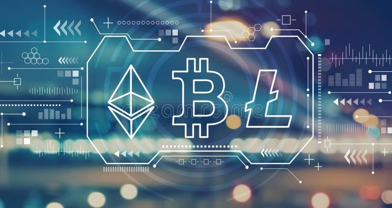 Cryptocurrency - Bitcoin, Ethereum, Litecoin com luzes borradas da cidade foto de stock royalty free