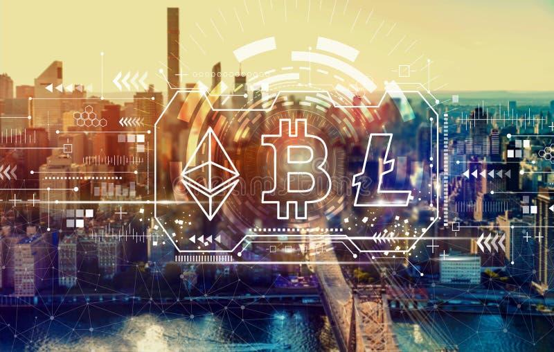 Cryptocurrency - Bitcoin, Ethereum, Litecoin com New York City ilustração stock