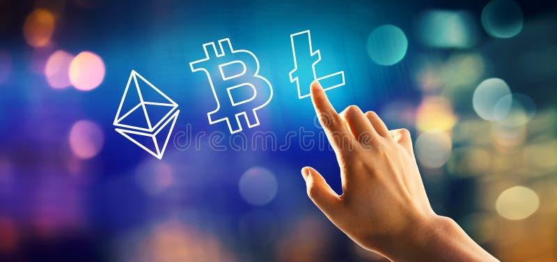 Cryptocurrency - Bitcoin, Ethereum, Litecoin med att trycka på för hand en knapp royaltyfri illustrationer