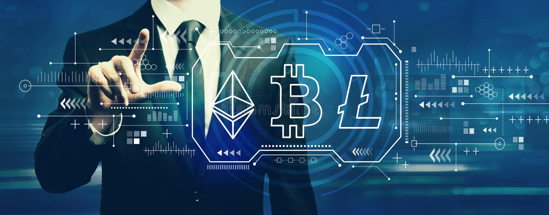 Cryptocurrency - Bitcoin, Ethereum, Litecoin met zakenman stock fotografie