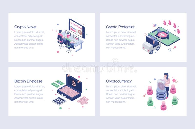 Cryptocurrency, Bitcoin, illustrations de vecteur de Blockchain illustration de vecteur