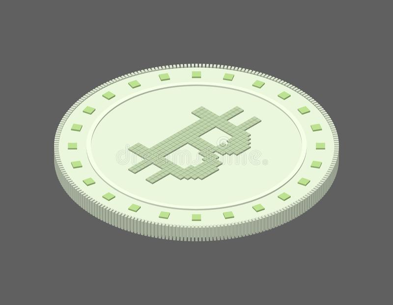 Cryptocurrency bitcoin. Isolated on grey background. 3d Vector i. Llustration. Isometric projection stock illustration