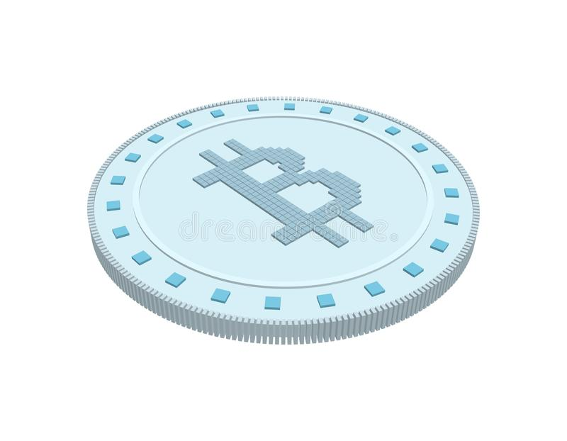 Cryptocurrency bitcoin. Isolated on white background. 3d Vector. Illustration stock illustration