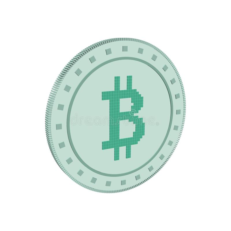 Cryptocurrency bitcoin. Isolated on white background. 3d Vector. Illustration royalty free illustration