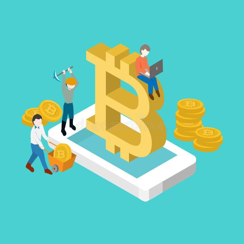Cryptocurrency Bitcoin isometric απεικόνιση αποθεμάτων