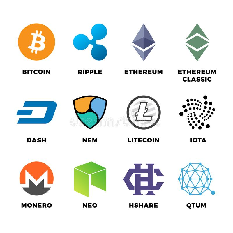 Cryptocurrency bitcoin, litecoin ethereum vector flat icons stock illustration