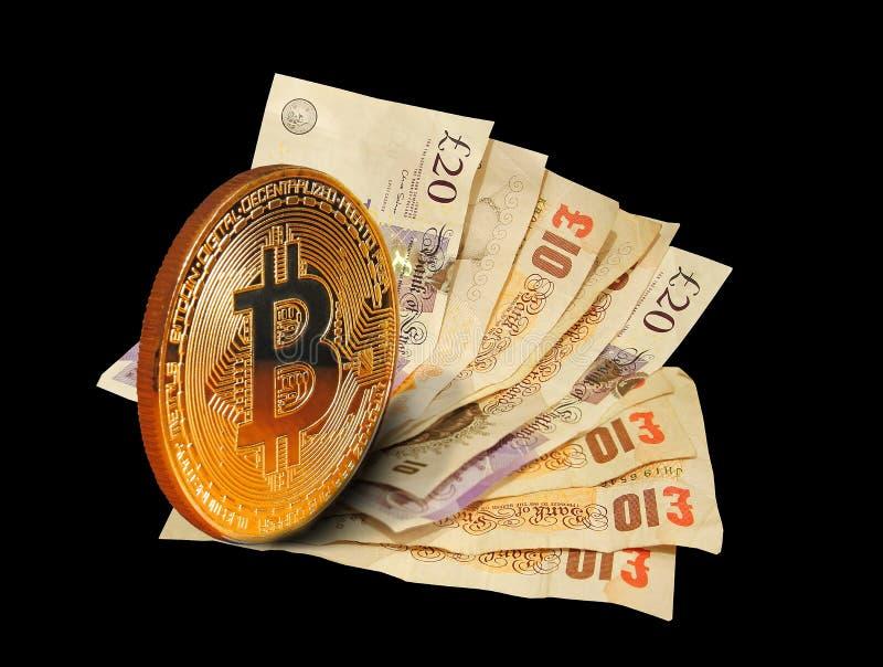Cryptocurrency bitcoin och pappers- kontanta anmärkningar arkivfoton