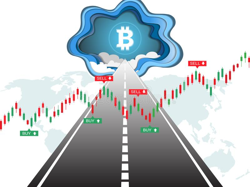 Cryptocurrency bitcoin on the road to success and Candlestick financial graph charts climbing up. royalty free illustration