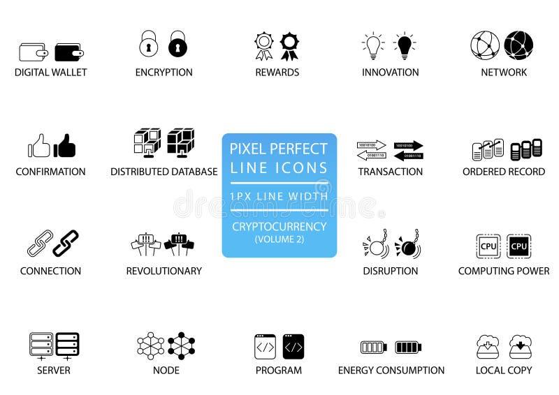 Cryptocurrency bitcoin, tunn linje symbolsuppsättning för ethereum Perfekta symboler för PIXEL med 1 pxlinje bredd för optimal ap stock illustrationer