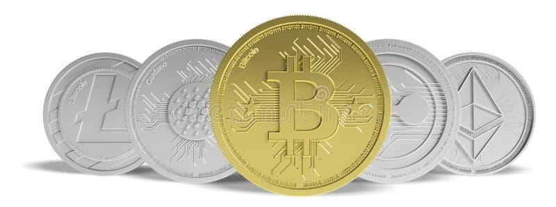 Cryptocurrency Bitcoin y variedad de oro de monedas virtuales de plata en el fondo blanco, bandera, vista delantera ilustración 3 ilustración del vector