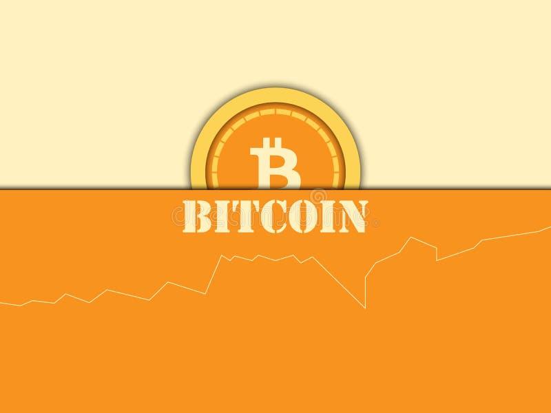 Cryptocurrency Bitcoinmuntstuk, diagram Blokkerend systeem Vector i royalty-vrije illustratie