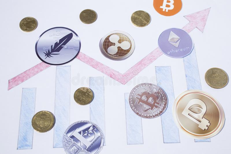 Cryptocurrency bitcoins en euro muntstukken en een grafische handel royalty-vrije stock foto