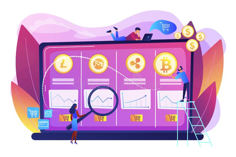Cryptocurrency biurka pojęcia wektoru handlarska ilustracja royalty ilustracja