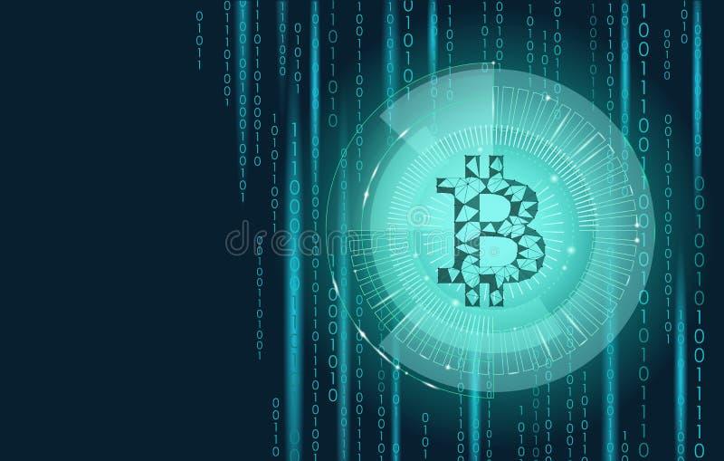 Cryptocurrency bleu-clair de signe de bitcoin dans la cible de hud Système en ligne de blockchain de salaire de bas poly commerce illustration de vecteur