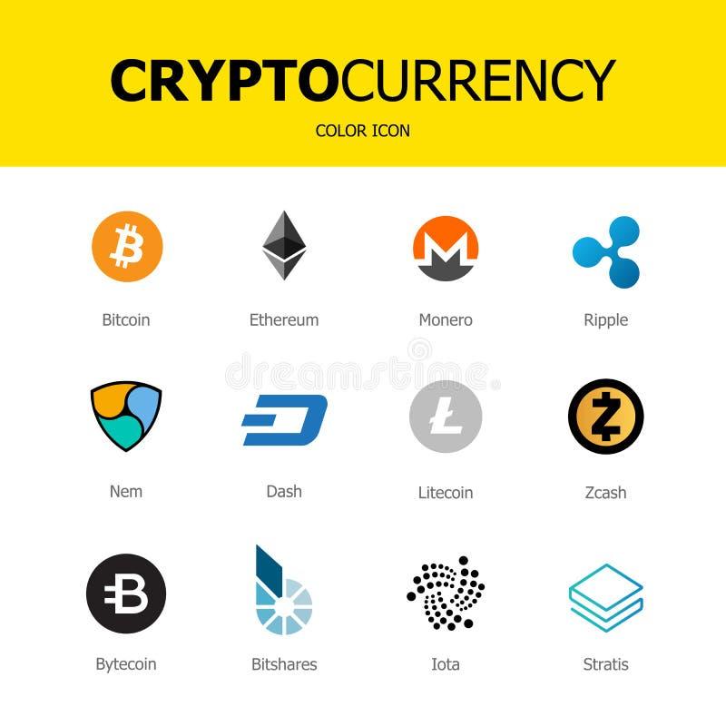 Cryptocurrency blockchain象隔绝了白色背景 集合真正货币 免版税库存照片