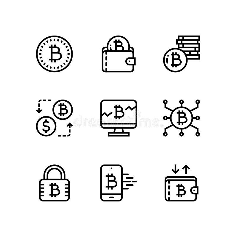 Cryptocurrency, blockchain, минирование bitcoin, значки цифрового вектора денег простые для сети и передвижной пакет 1 дизайна бесплатная иллюстрация