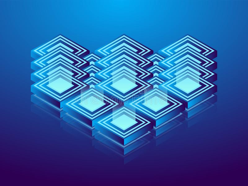 Cryptocurrency and blockchain, abstract isometric 3D illustration. Cryptocurrency mining farm, vector technology background.  royalty free illustration