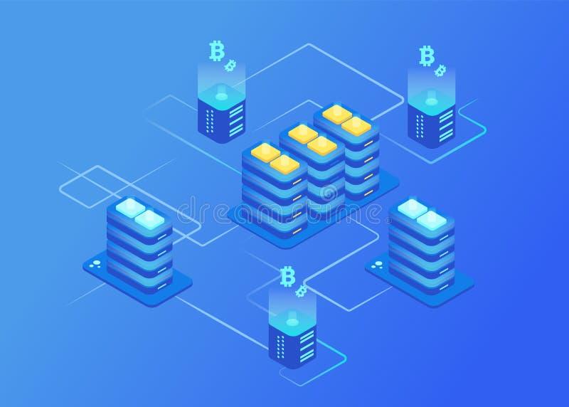 Cryptocurrency and blockchain. Bitcoin mining farm. vector illustration
