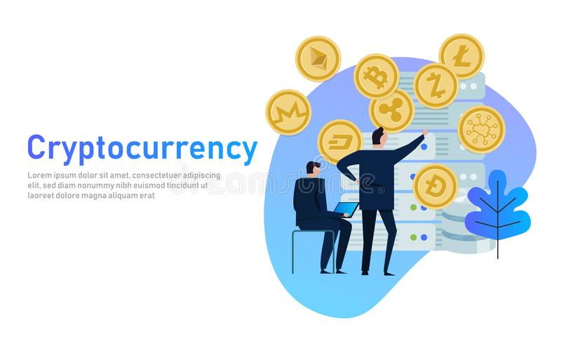 Cryptocurrency and blockchain composition. Big data processing, server station of future, data center. business people royalty free illustration