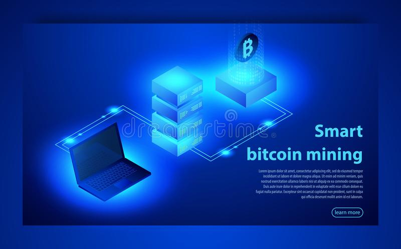 Cryptocurrency and Blockchain concept. Farm for mining bitcoins. Digital money market, investment, finance and trading. vector illustration