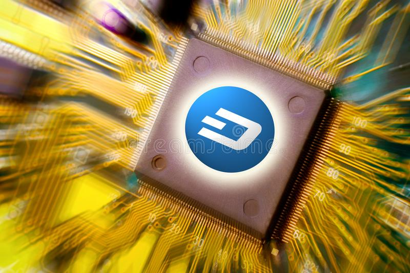 Cryptocurrency and blockchain - financial technology and internet money - circuit board mining and coin DASH stock images