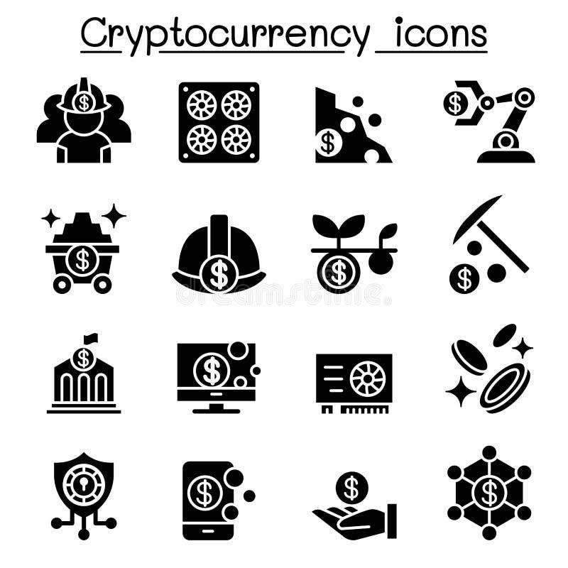 Cryptocurrency, Blockchain & ICO-symbolsuppsättning stock illustrationer