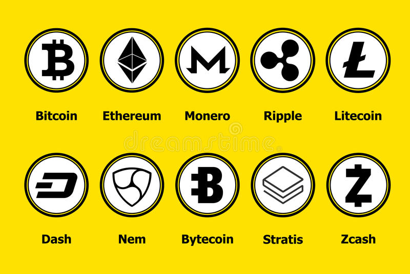 Cryptocurrency blockchain ikony żółty tło Ustalona wirtualna waluta Wektorowi handli znaki: bitcoin, ethereum, monero, czochra, ilustracja wektor
