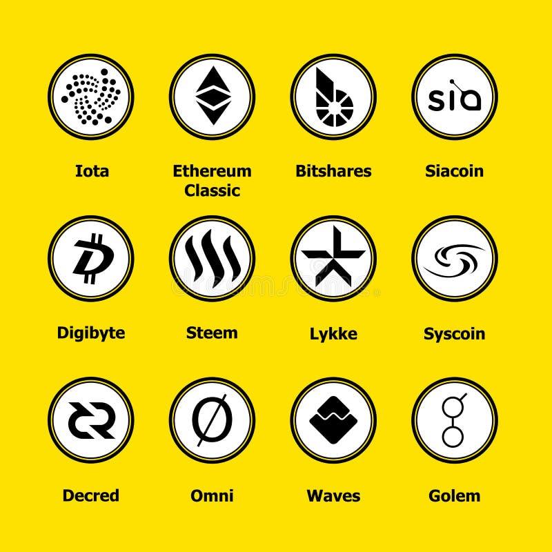 Cryptocurrency blockchain ikony żółty tło Ustalona wirtualna waluta Wektorowi handli znaki: jota, ethereum klasyk, bitshares royalty ilustracja