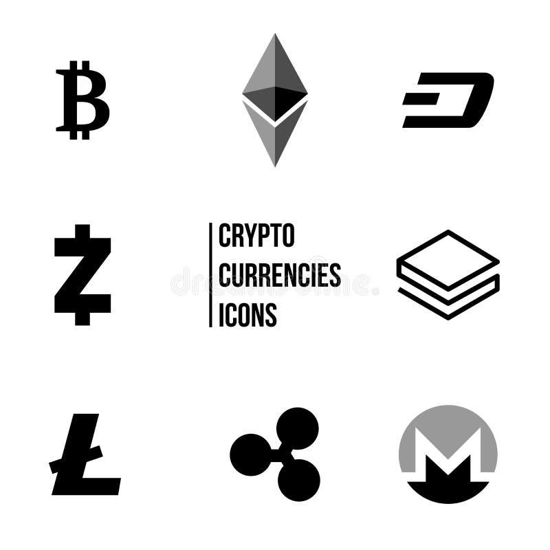 Cryptocurrency blockchain ikony, set wirtualny walut ikon, bitcoin, czochry, litecoin, ethereum, handlu i wymiany concep, royalty ilustracja