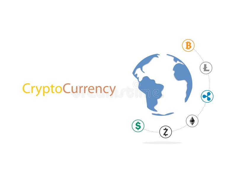 Cryptocurrency and blockchain around world infographic. royalty free illustration