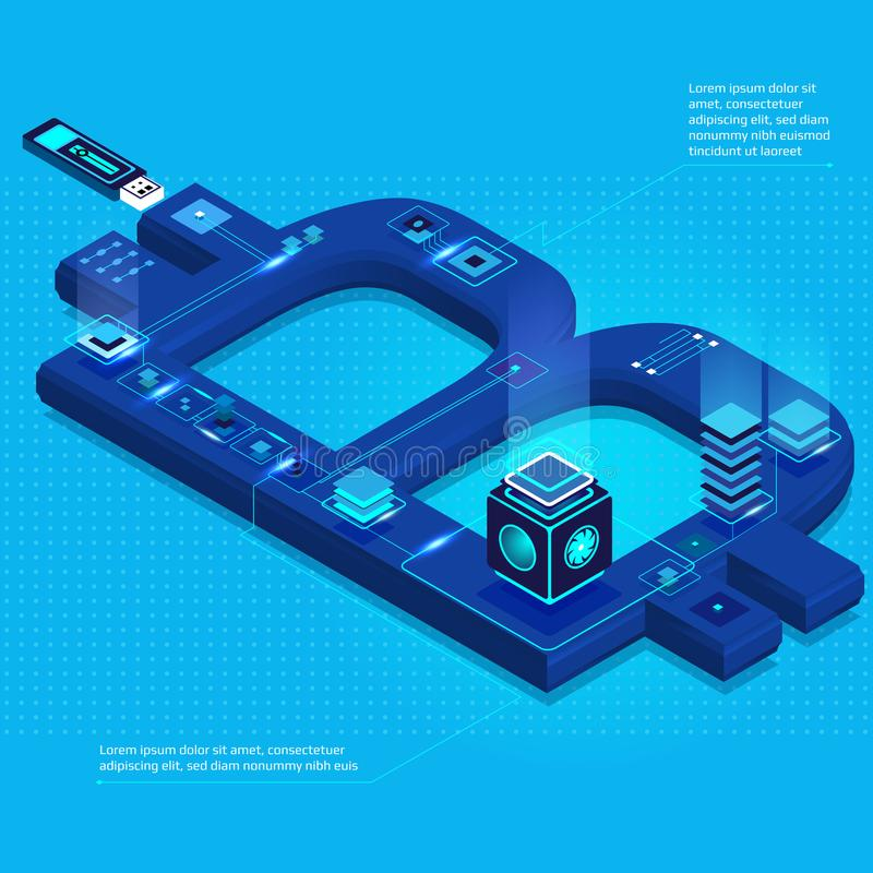 Cryptocurrency and blockchain isometric composition with bitcoin symbol, computer chips, lighting effects. stock illustration