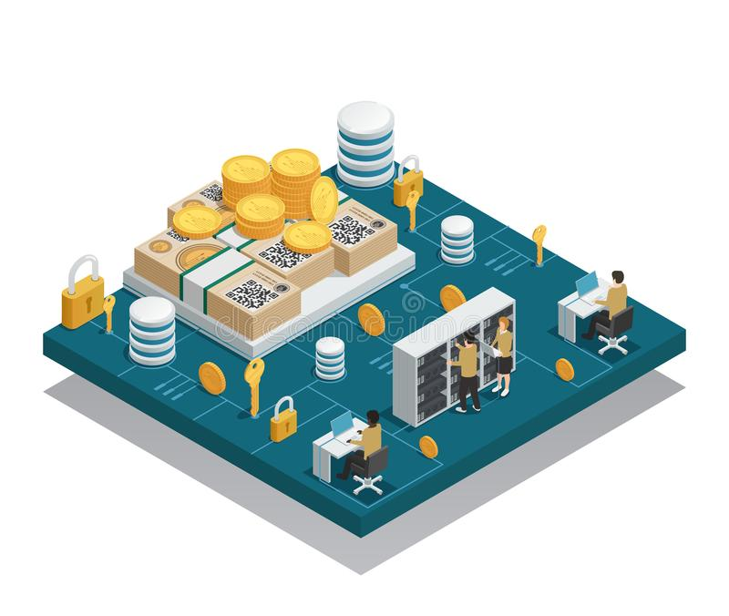Cryptocurrency And Blockchain Isometric Composition vector illustration